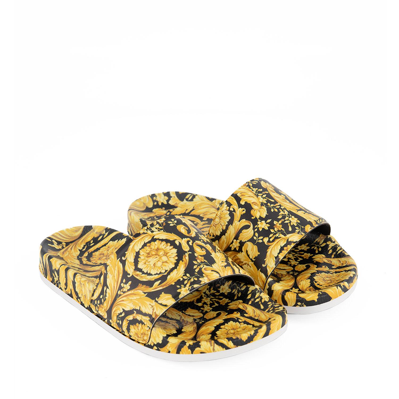 Afbeelding van Versace 1000255 kinderslippers goud/zwart
