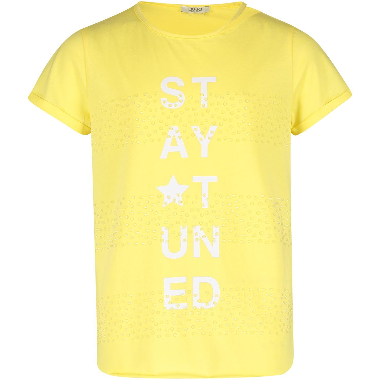 Afbeelding van Liu Jo G19070 kinder t-shirt geel