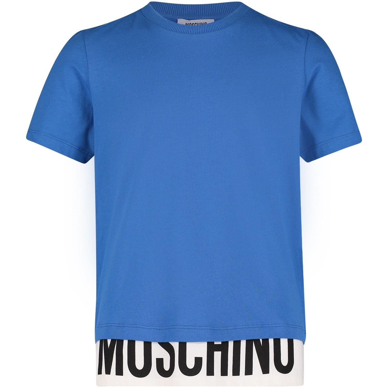 Afbeelding van Moschino HUM022 kinder t-shirt cobalt blauw