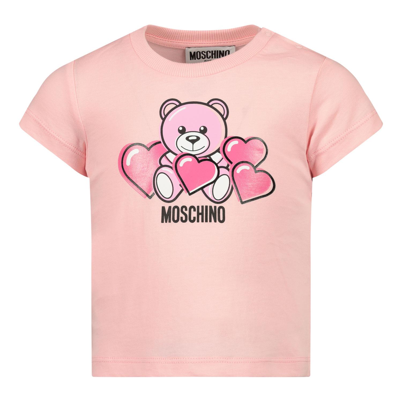 Afbeelding van Moschino MXM02A baby t-shirt licht roze