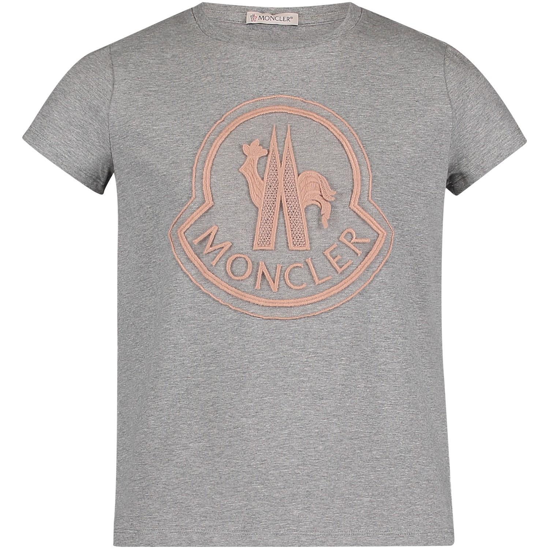 Afbeelding van Moncler 8069505 kinder t-shirt grijs