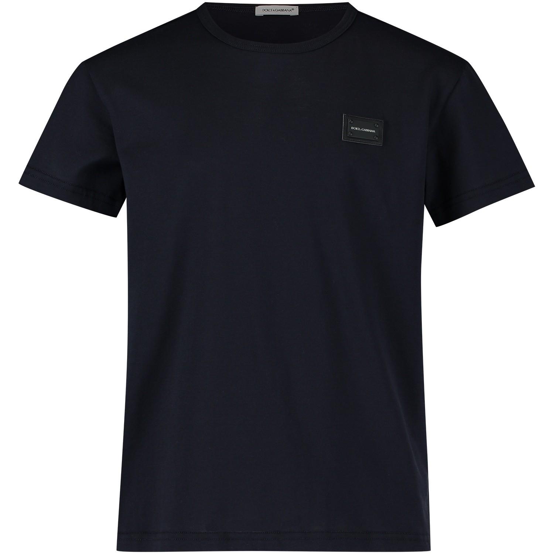 Afbeelding van Dolce & Gabbana L4JT7T kinder t-shirt navy
