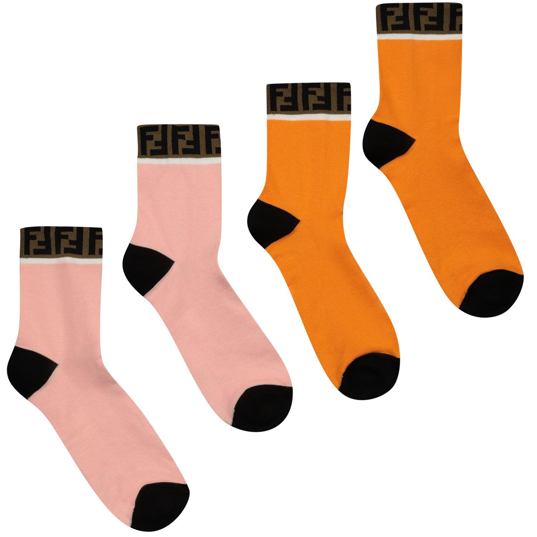 Afbeelding van Fendi JUN008 AASX kindersokken oranje/roze