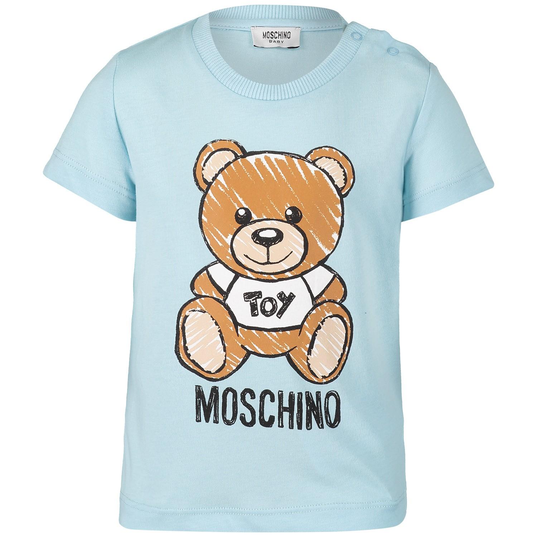 Afbeelding van Moschino MXM01N baby t-shirt licht blauw