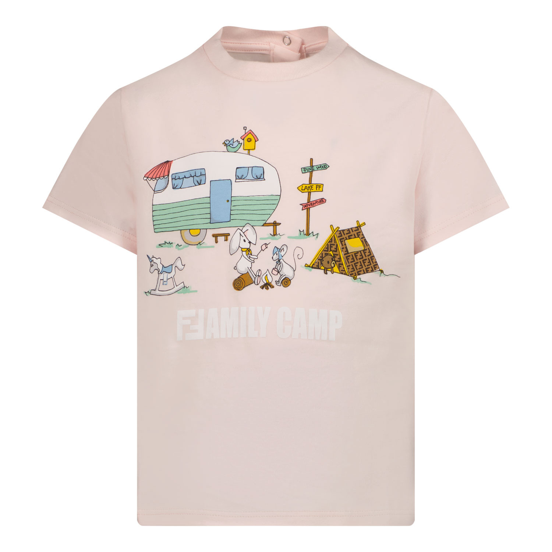 Afbeelding van Fendi BUI030 ST8 baby t-shirt licht roze
