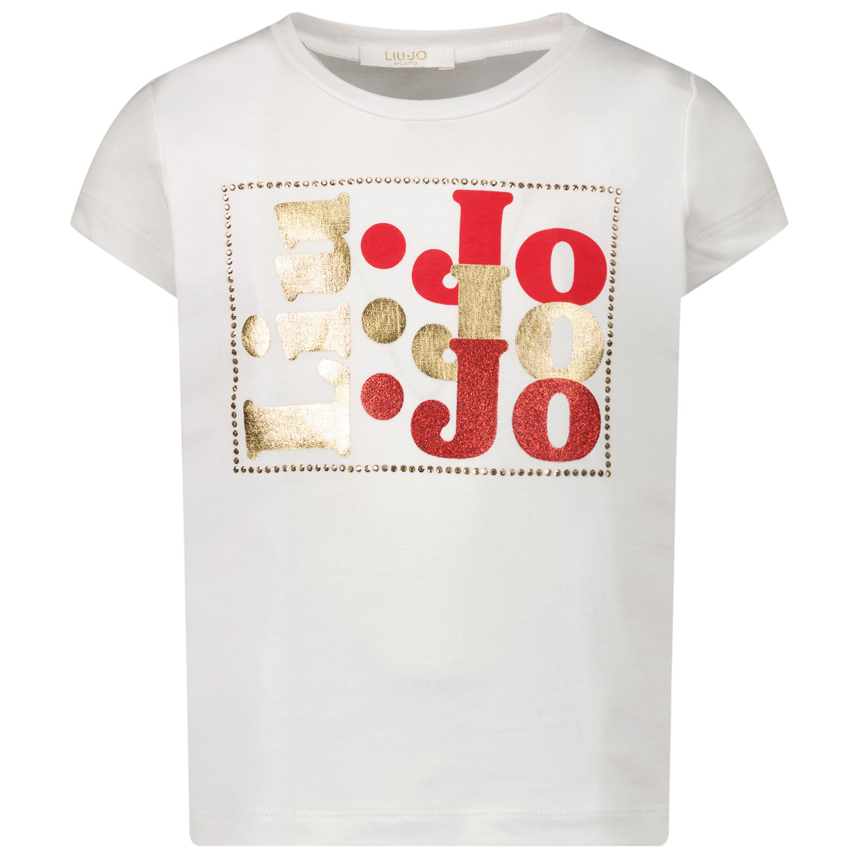 Afbeelding van Liu Jo KA1001 kinder t-shirt wit/rood