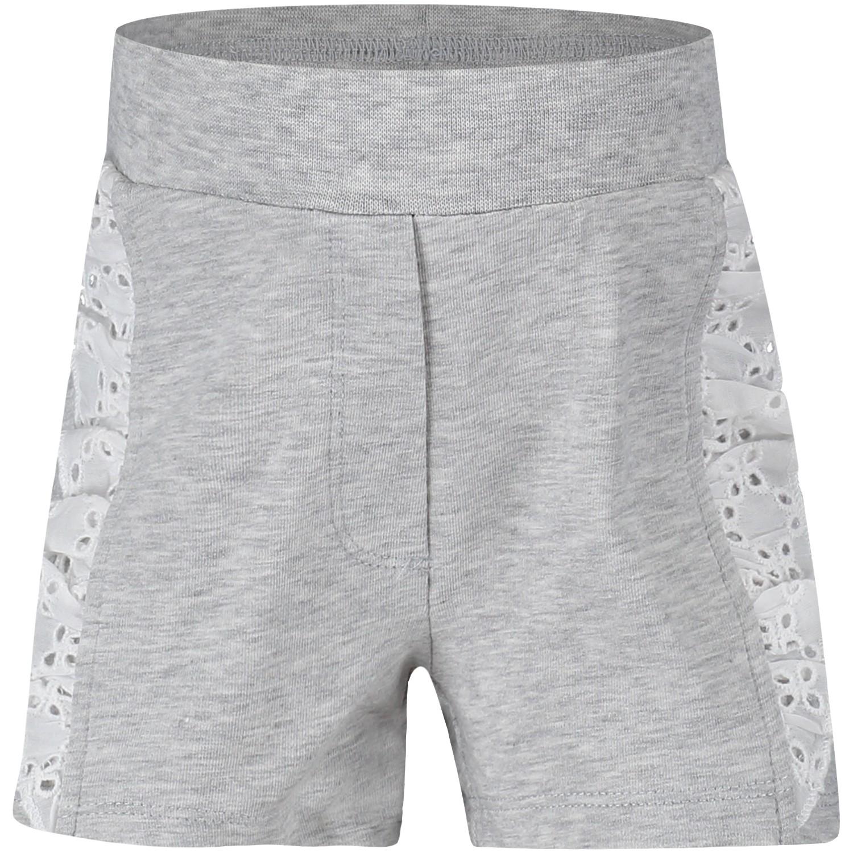 Afbeelding van MonnaLisa 391404A8 baby shorts licht grijs
