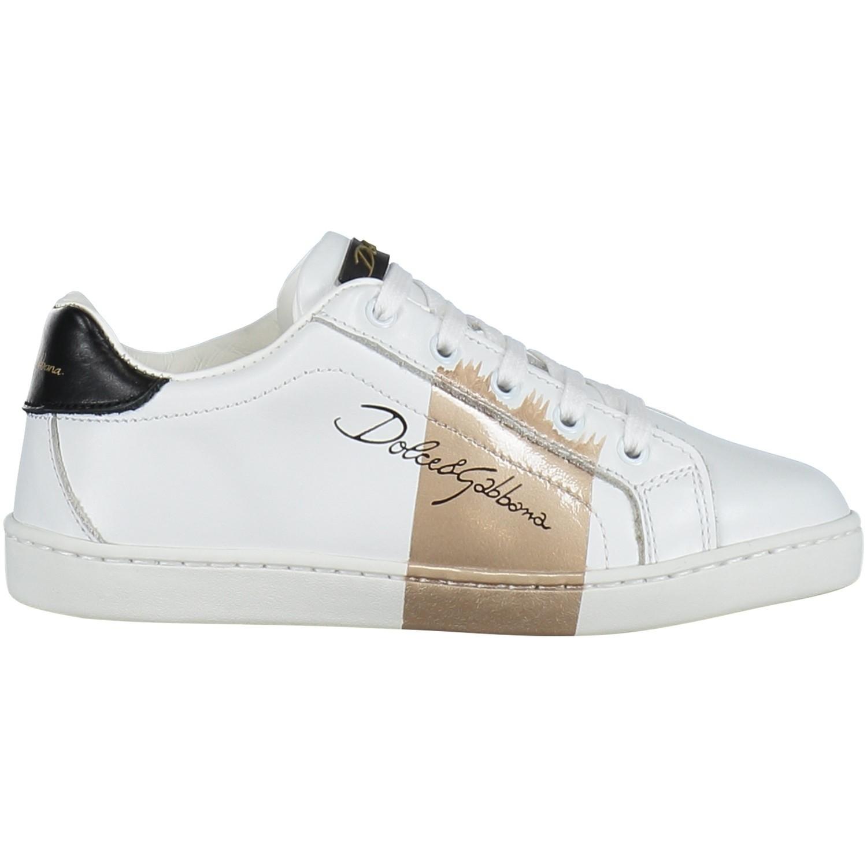 Afbeelding van Dolce & Gabbana DA0624 kindersneakers wit/goud