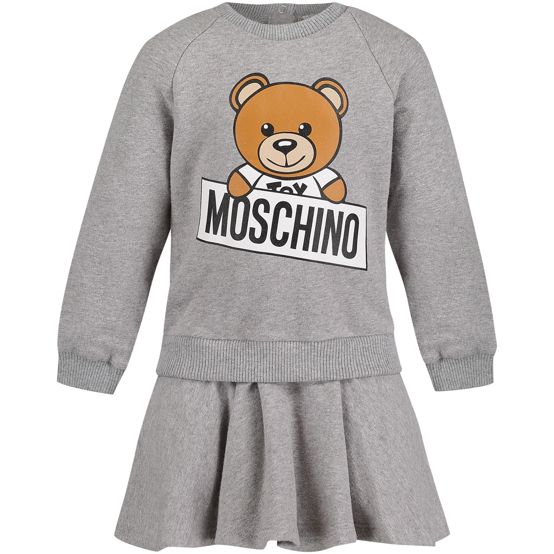 Afbeelding van Moschino MDY00D babyjurkje licht grijs