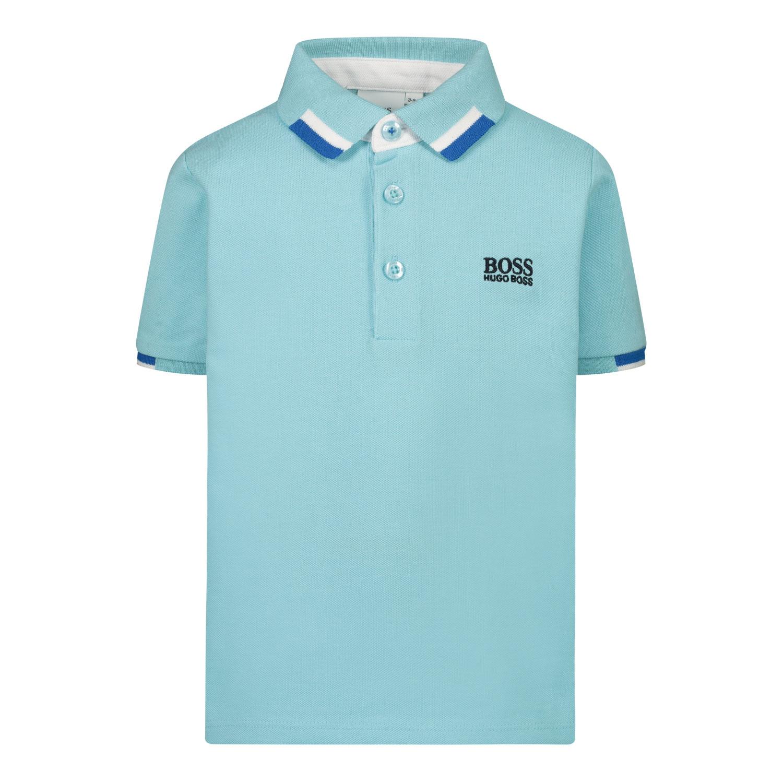 Afbeelding van Boss J05847 baby polo turquoise