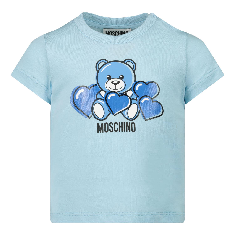 Afbeelding van Moschino MXM02A baby t-shirt licht blauw