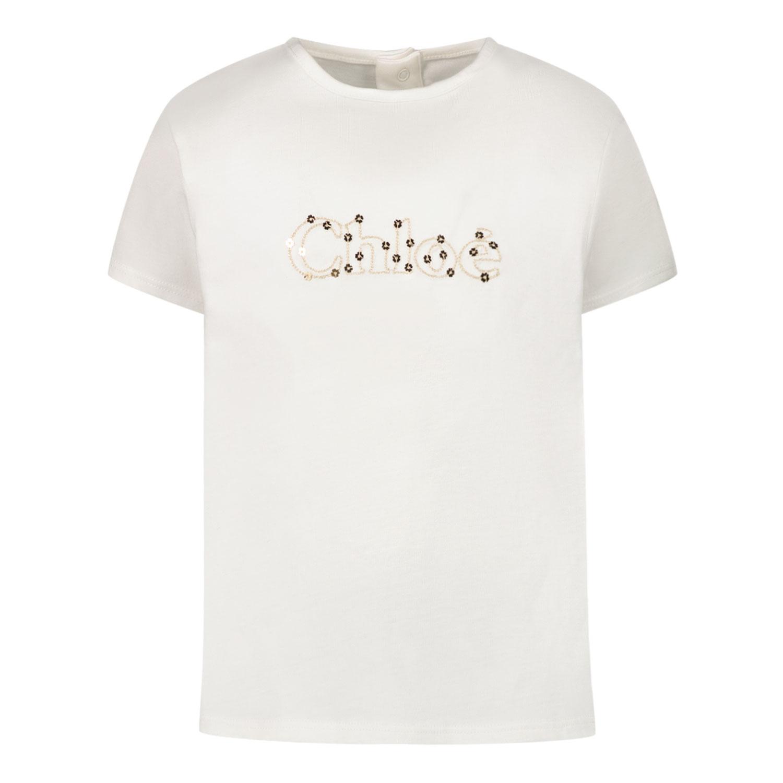 Afbeelding van Chloé C05368 baby t-shirt off white