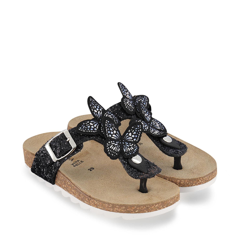 Afbeelding van MonnaLisa 877021 kinderslippers zwart