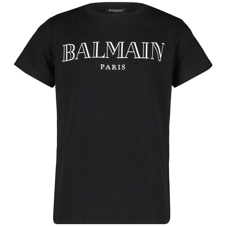 Afbeelding van Balmain 6k8611 Kinder T Shirt Zwart