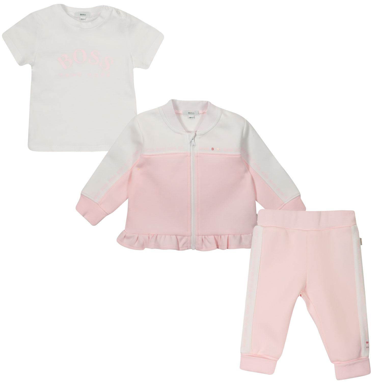 Afbeelding van Boss J98315 baby joggingpak licht roze