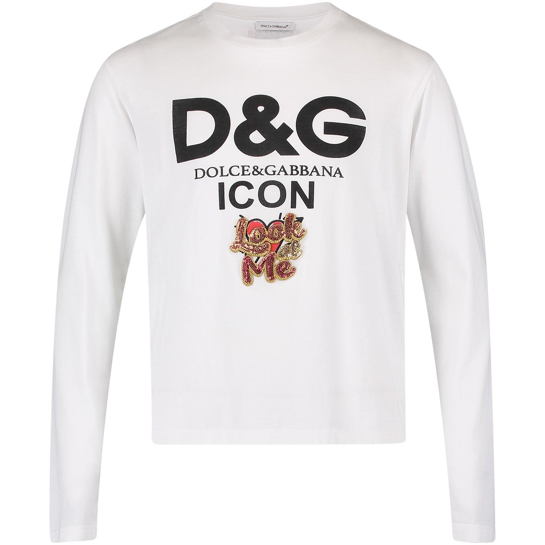 Dolce   Gabbana L5Jtax meisjes kinder t-shirt wit bij Coccinelle a05a5561cc5d