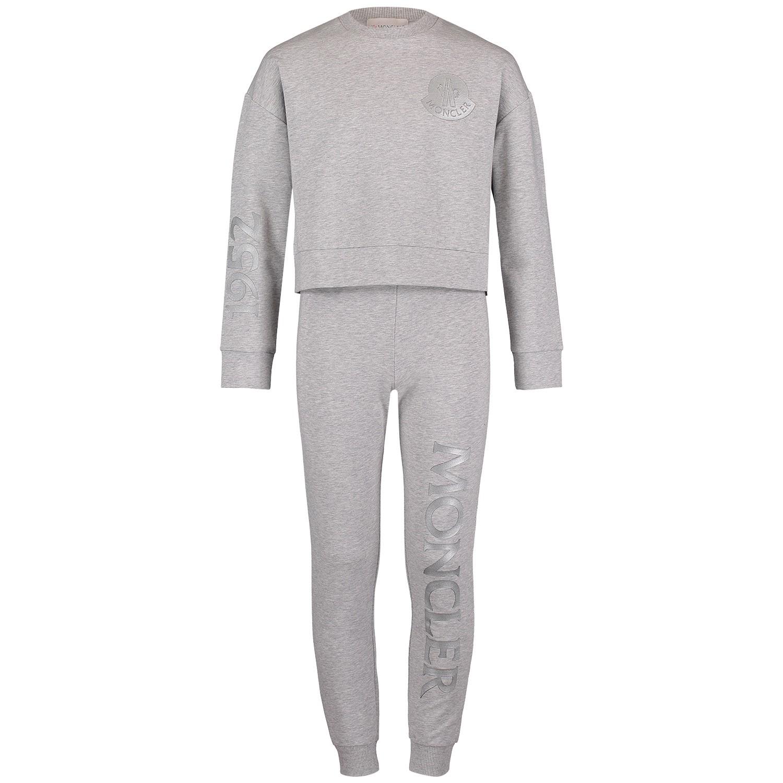 Afbeelding van Moncler 8858150 kinder joggingpak licht grijs