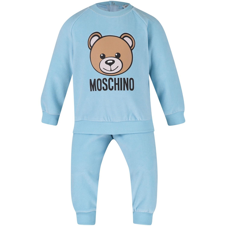 Afbeelding van Moschino MUK01V baby joggingpak licht blauw