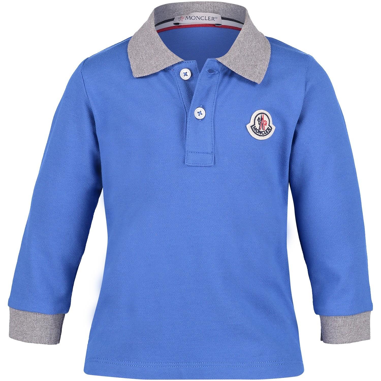 Afbeelding van Moncler 8307750 baby polo cobalt blauw