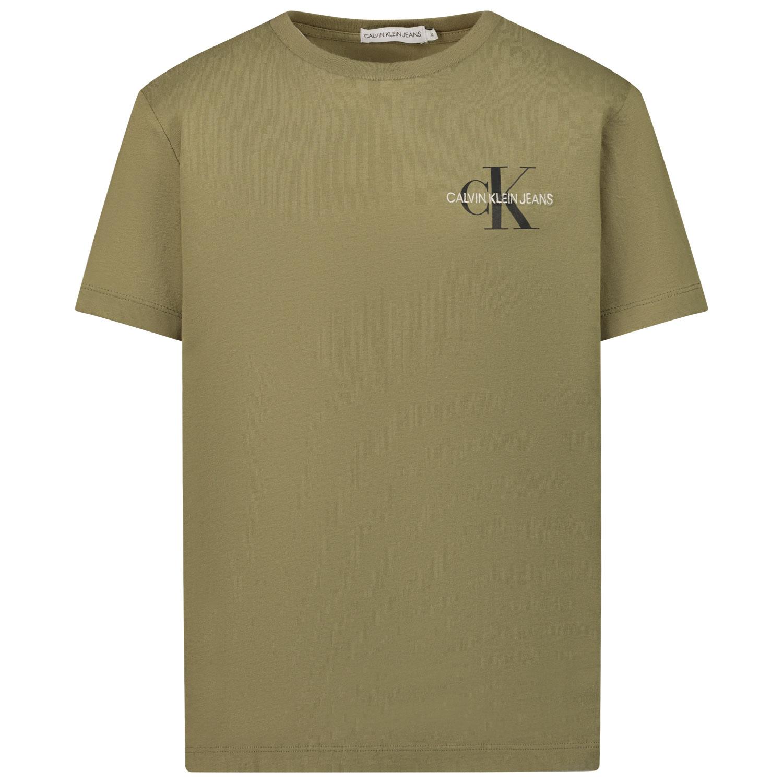 Afbeelding van Calvin Klein IB0IB00612 kinder t-shirt olijf groen