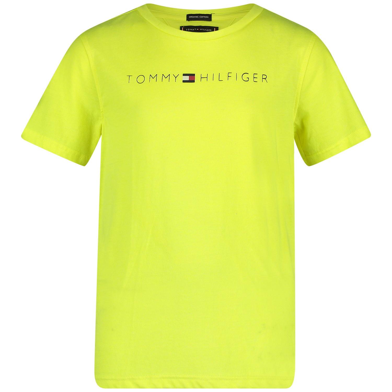 Afbeelding van Tommy Hilfiger KB0KB04865 kinder t-shirt fluor geel