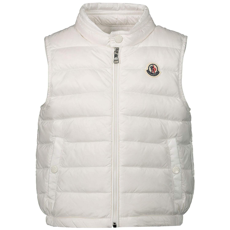 Unisex Babykleding.Moncler 4334199 Unisex Junior Baby Bodywarmer Off White Bij Coccinelle