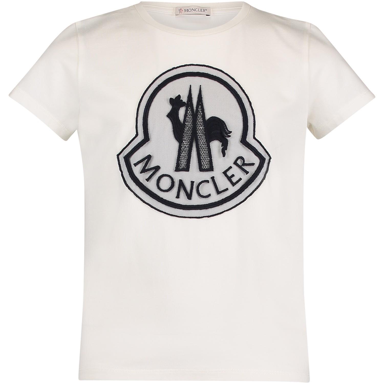 moncler 8069505 meisjes kinder t shirt off white bij. Black Bedroom Furniture Sets. Home Design Ideas