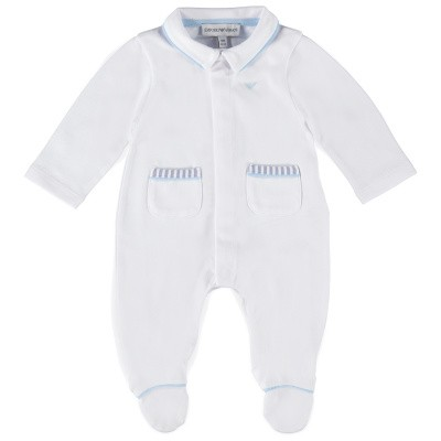 Picture of Armani 3GHD02 baby playsuit white