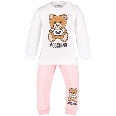 Picture of Moschino MZK019 baby sweatsuit light pink