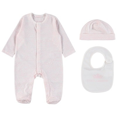Picture of Dolce & Gabbana L1JG06 baby playsuit light pink