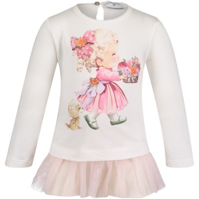 Afbeelding van MonnaLisa 312617SX baby tuniekje off white