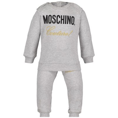 Picture of Moschino MDK01H baby sweatsuit grey