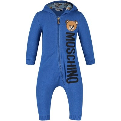 Picture of Moschino MUT012 baby playsuit cobalt blue