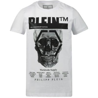 Afbeelding van Philipp Plein BTK0745 kinder t-shirt wit