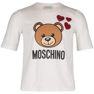 Picture of Moschino HDM02U kids t-shirt off white