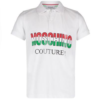 Picture of Moschino HUM02E kids polo shirt white