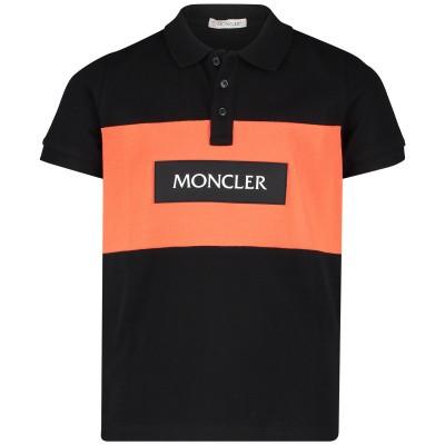 Afbeelding van Moncler 8311705 kinder polo zwart