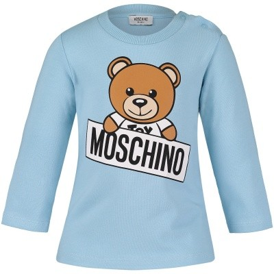 Picture of Moschino M5M01L baby shirt light blue