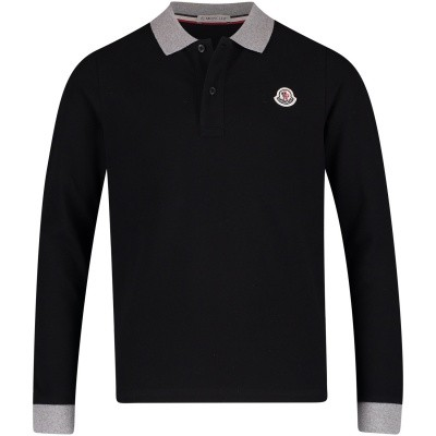 Picture of Moncler 8307750 kids polo shirt black