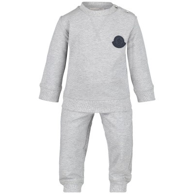 Picture of Moncler 8812505 baby sweatsuit grey