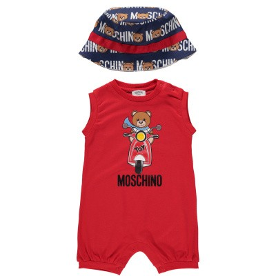 Picture of Moschino MUY020 baby playsuit red