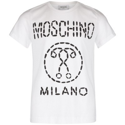 Picture of Moschino HSM024 kids t-shirt white