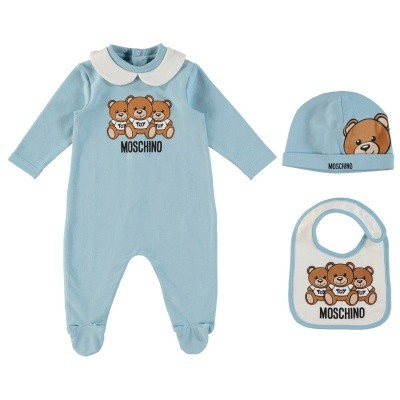Picture of Moschino MUY01G baby playsuit light blue
