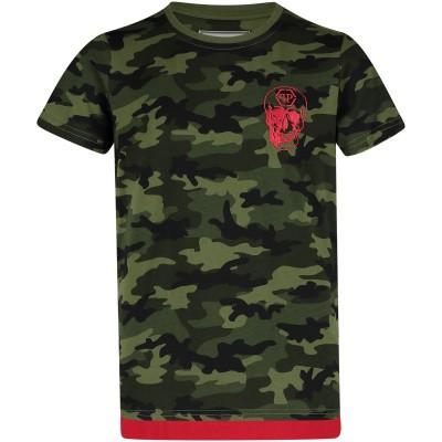 Picture of Philipp Plein BTK0664 kids t-shirt army