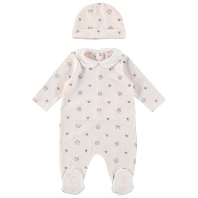 Picture of Philipp Plein CRJ0016 baby playsuit light pink
