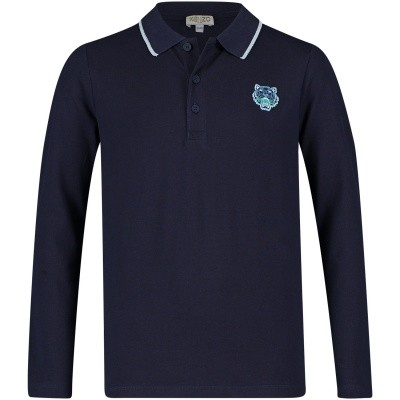 Picture of Kenzo KM11558 kids polo shirt navy