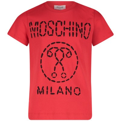 Picture of Moschino HSM024 kids t-shirt red