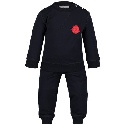 Picture of Moncler 8812505 baby sweatsuit navy