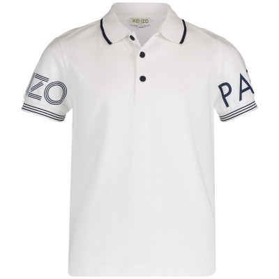 Picture of Kenzo KN11518 kids polo shirt white