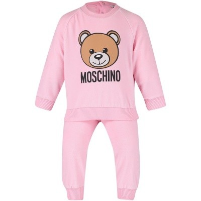 Picture of Moschino MUK01V baby sweatsuit light pink